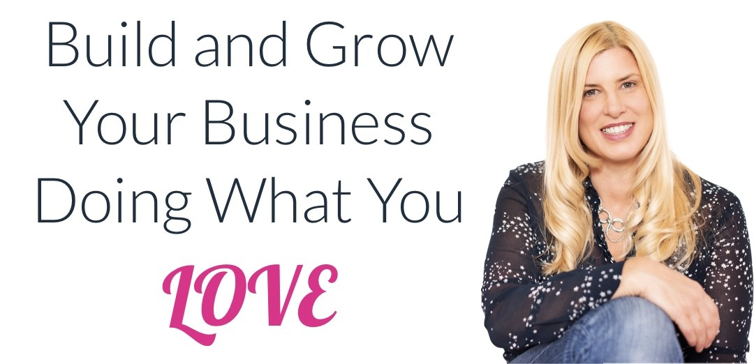 Website page banner. Libby Knight looks at the viewer next to text 'Build and grow an business doinf=g what you love'